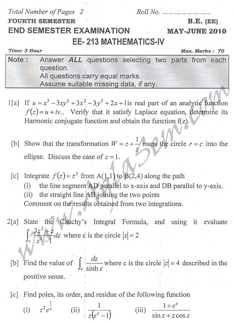 DTU Question Papers 2010 – 4 Semester - End Sem - EE-213