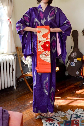 Ikat Kimono and Orange Obi