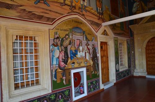 An der Wand ein restauriertes Fresko