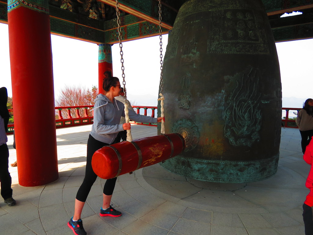 Ringing the bell at the Seokguram Grotto