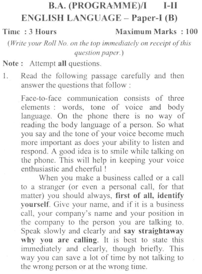 DU SOL B.A. Programme Question Paper - English B -  PaperI