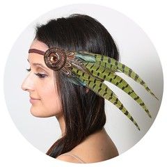 Green Feather Bohemian Headband