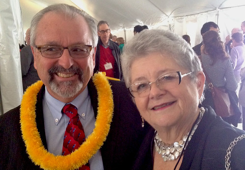 <p>From left, University of Hawaii at Manoa Professor David Karl and University of Hawaii President M.R.C. Greenwood at a National Academy of Sciences awards ceremony reception.</p>