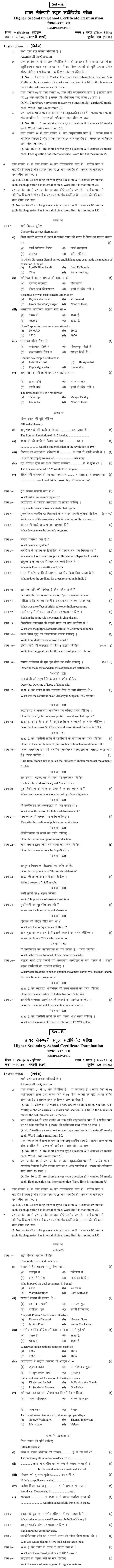 Chattisgarh Board Class 12 HistorySample Paper