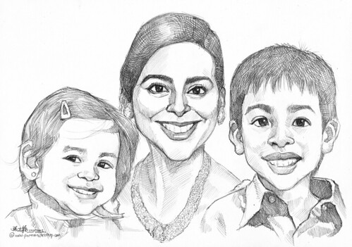 family portraits in pencil