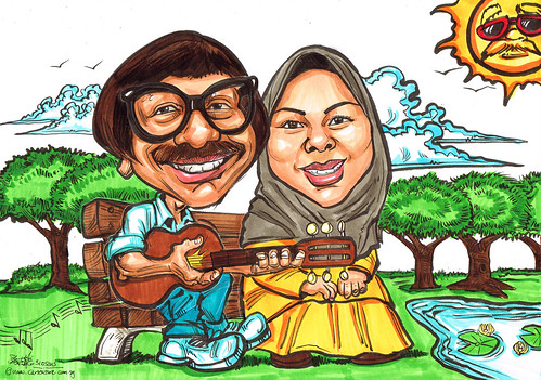 Dad & Mom caricatures strumming guitar at the park - A4