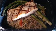 Salmon, asparagus  and rice. It's what's for dinner while we wait for our trailer to get loaded.