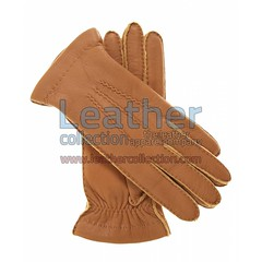 Cashmere Wool Lined Biege Lambskin Gloves for $45.50
