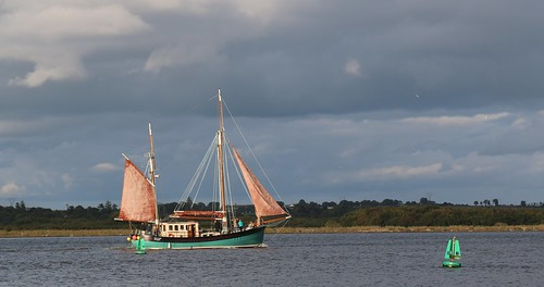 16th September 2016. Brian Boru gaff rigged ketch on the River Suir at Cheekpoint, County Waterford, Ireland.