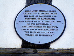 Photo of Thomas Arden and Alice Arden white plaque