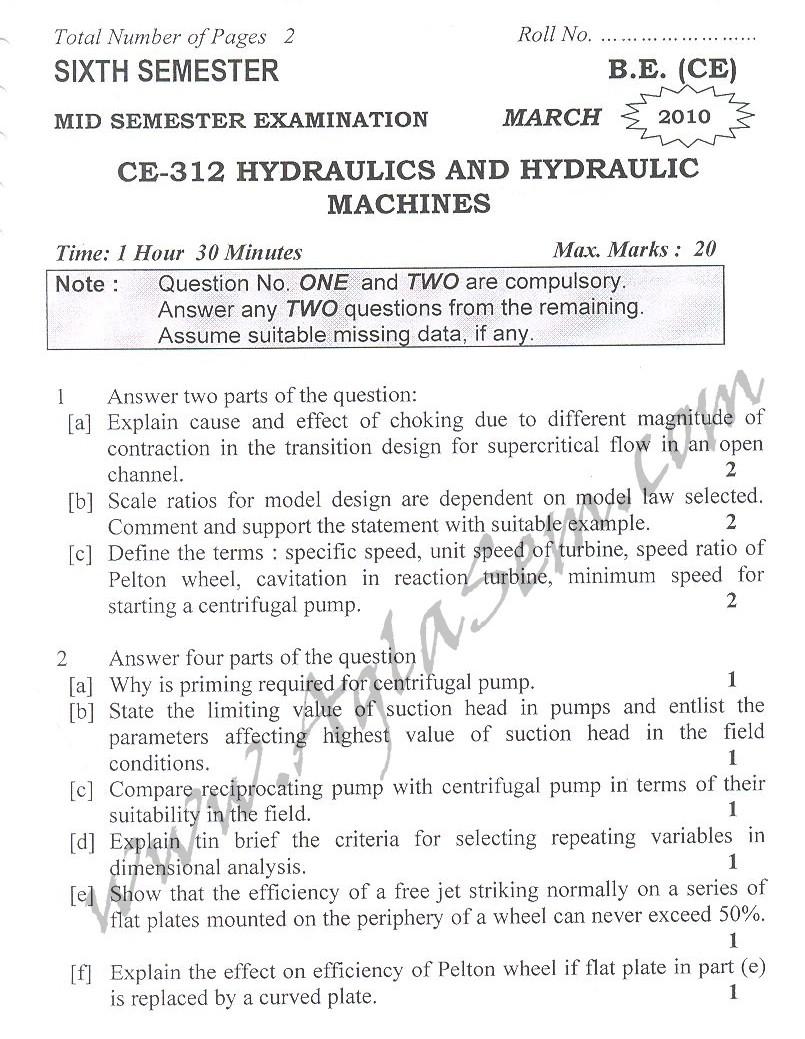 DTU Question Papers 2010 – 6 Semester - Mid Sem - CE-312