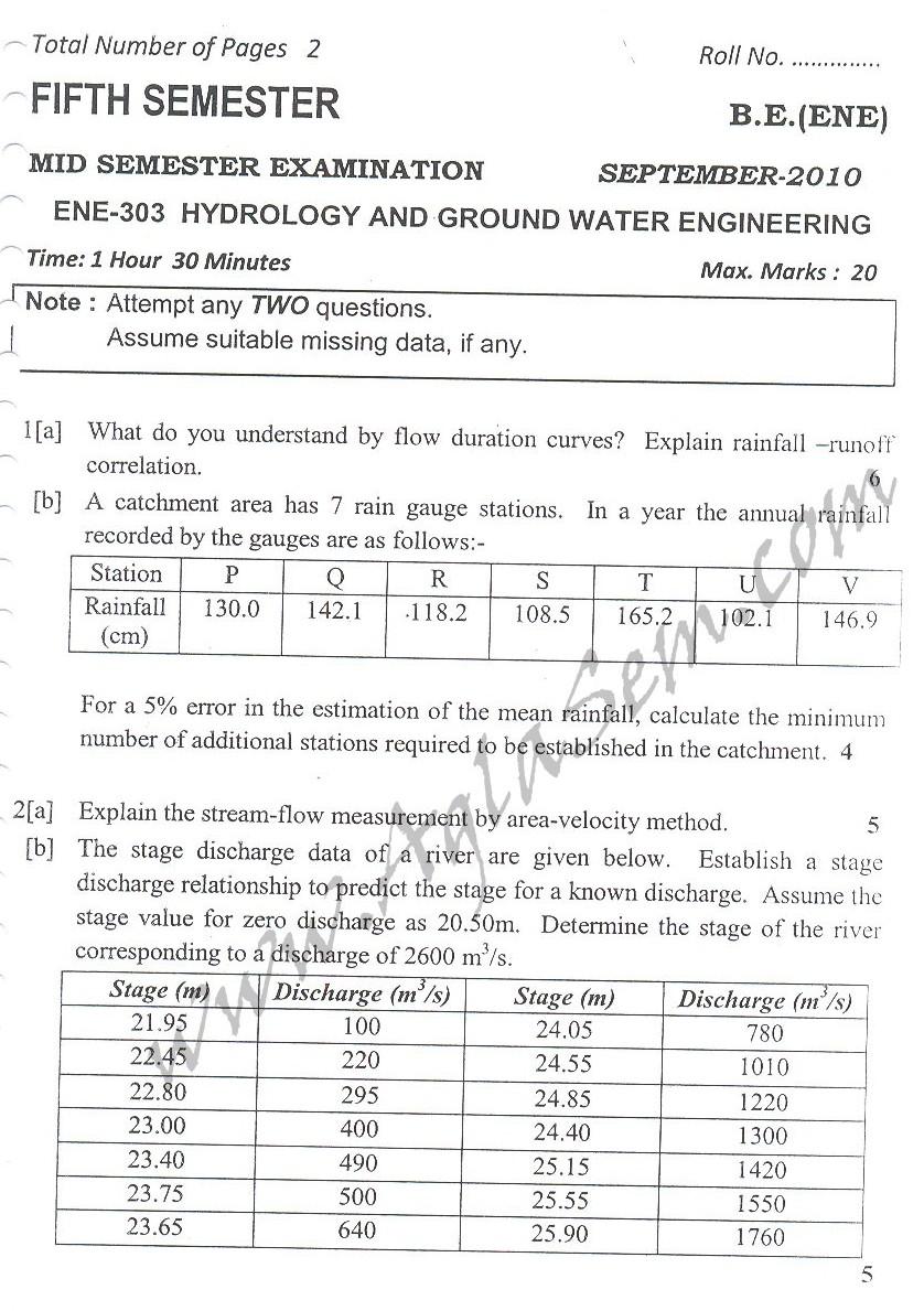 DTU Question Papers 2010 – 5 Semester - Mid Sem - ENE-303