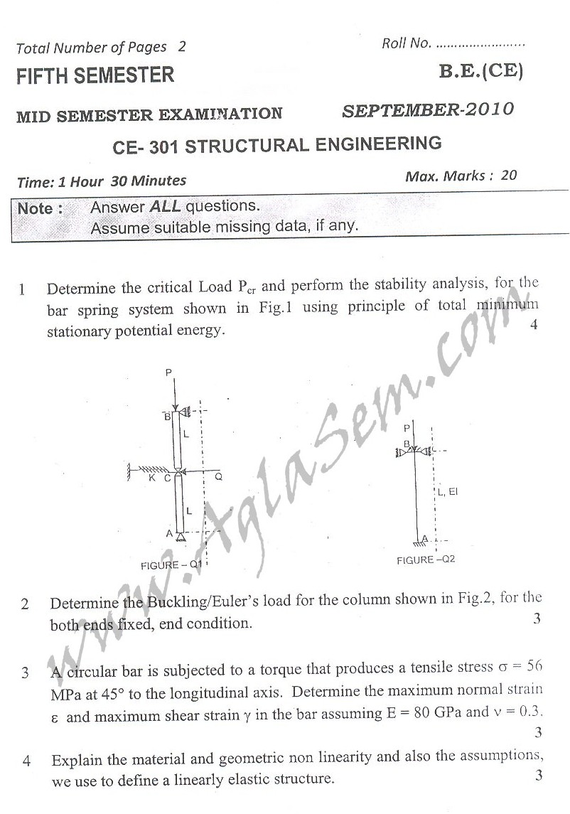 DTU Question Papers 2010 – 5 Semester - Mid Sem - CE-301