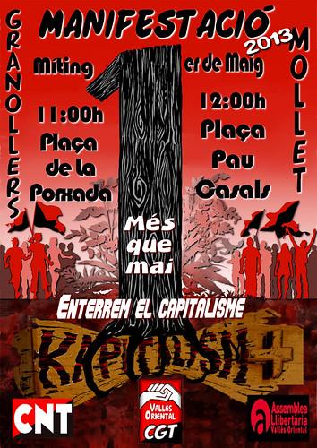 CGT Vallès Oriental. Cartell 1er Maig Granollers i Mollet 2013
