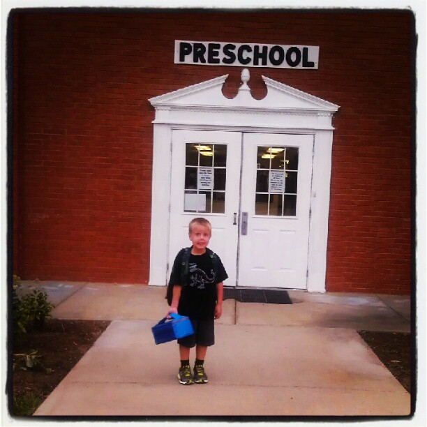 So hard to believe this is his last year in this building! Been here since he was 6 weeks old. Where has the time gone!? :( #BackToSchool