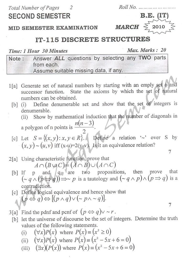 DTU Question Papers 2010 – 2 Semester - Mid Sem - IT-115