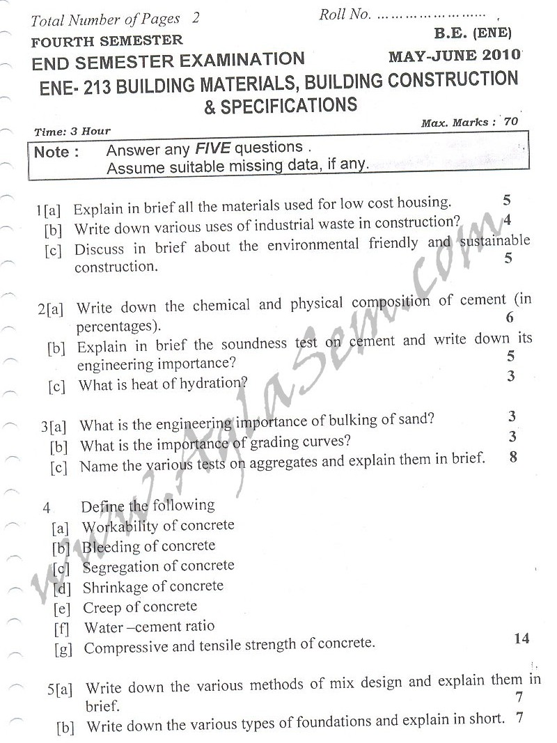 DTU Question Papers 2010 – 4 Semester - End Sem - ENE-213
