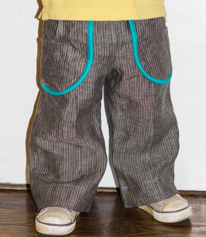 Parsley Pants- Linen Pinstripe Version