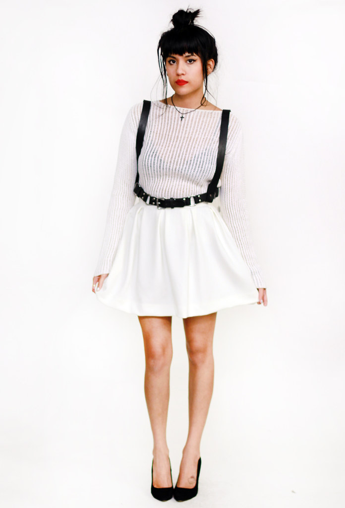 Tarte Vintage Chloe Leather Buckle Harness, White Neoprene Scuba Skater Skirt, Mesh top at shoptarte.com