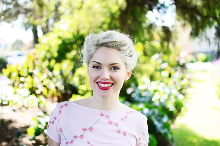 pink dress smile