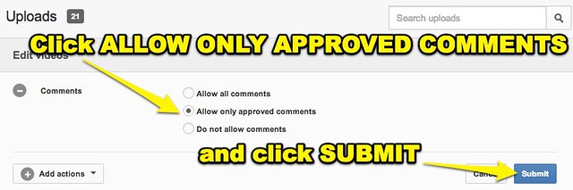 YouTube - Allow Only Approved Comments