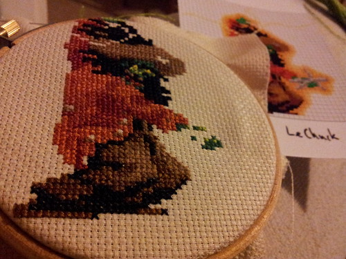 Jacket and legs finished on LeChuck cross stitch