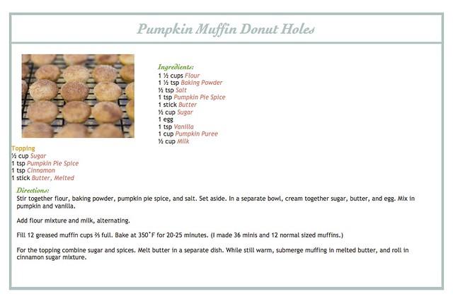 Pumpkin Muffin Donut Holes Recipe