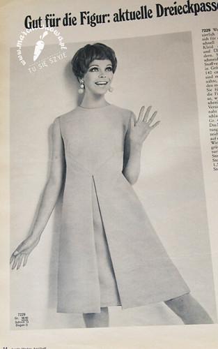 szyciowy blog roku 2012, szycie, krawiectwo, moda, fashion, retro, vintage, maszyna do szycia, Helena 2060, Łucznik, Burda 4/1968, wykrój, sukienka, kontrafałda, 60s, żakard, bawełna