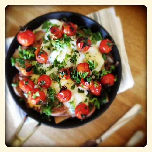 Hoot-&-holler-worthy braised eggs learnt from @ottolenghi at #vegcs. Can't think of any other dish I've made that's been so well received. New signature breakfast at the OC? http://m.guardian.co.uk/lifeandstyle/2011/jan/15/eggs-tomato-spinach-yoghurt-reci