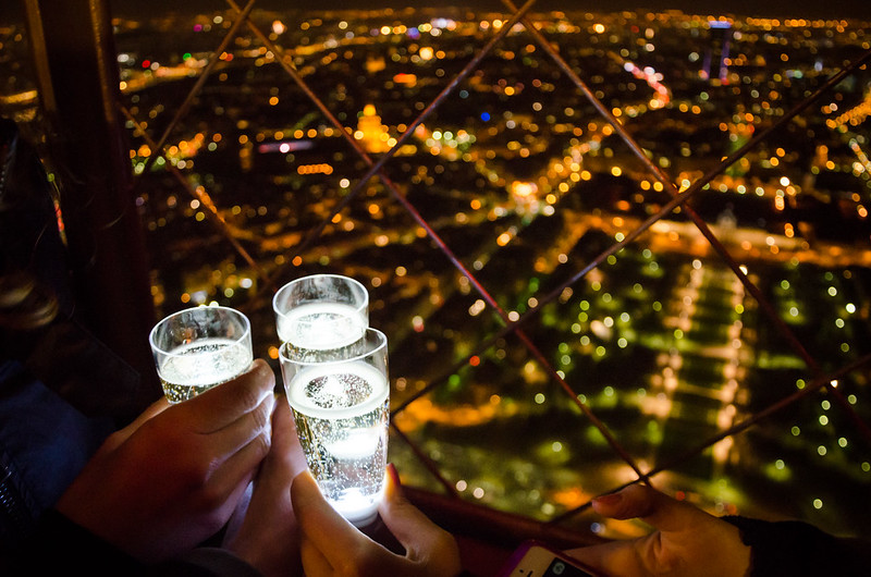 Champagne on the 3rd level of the Eiffel Tower
