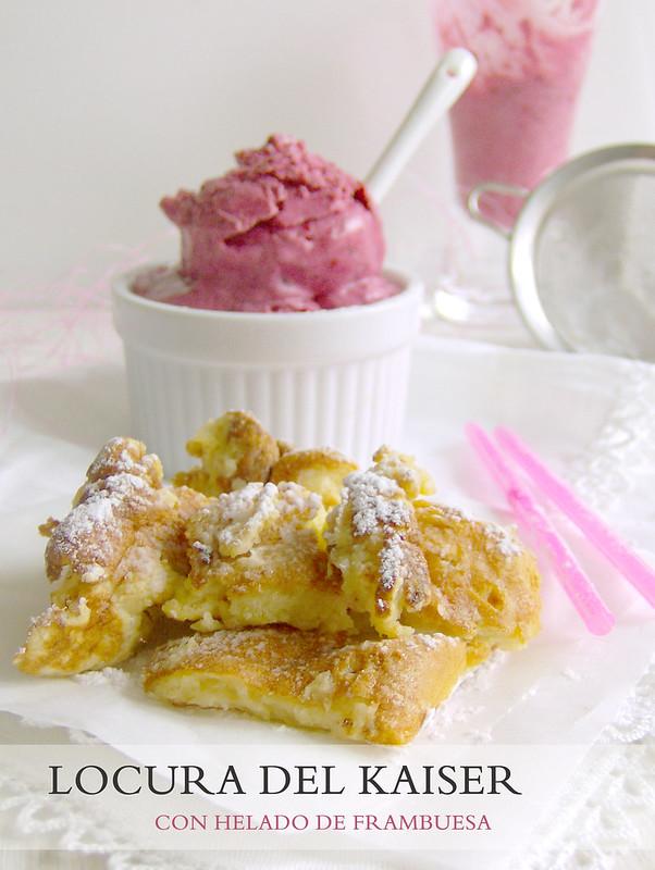 locura del kaiser con helado de frambuesa