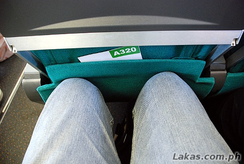 Usual legroom on regular seats on an airplane