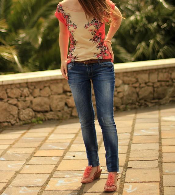 coral flowers tshirt