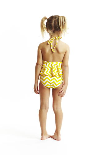 Yellow chevron swimwear