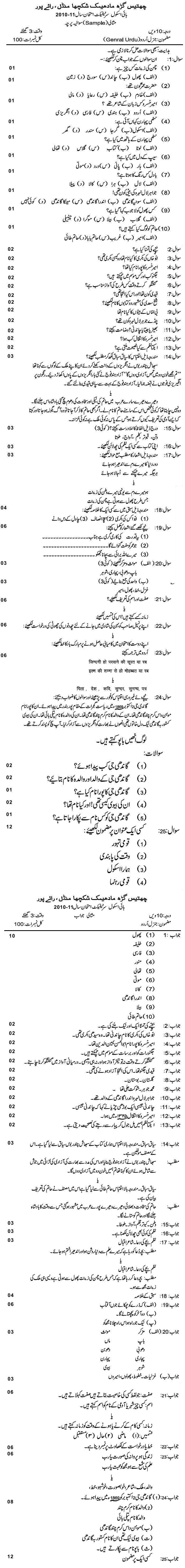 Chattisgarh Board Class 10 Urdu General Sample Paper