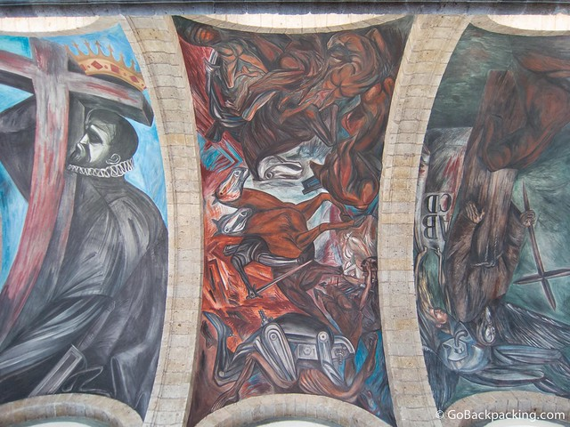Additional ceiling murals in the chapel by José Clemente Orozco