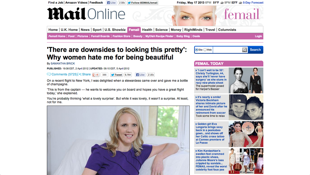 Samantha Brick article
