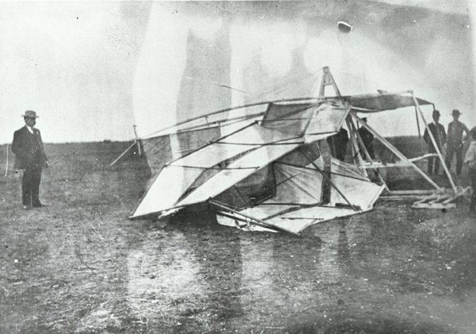Unidentified downed biplane, undated