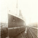 Small photo of Front view of Lusitania on stocks