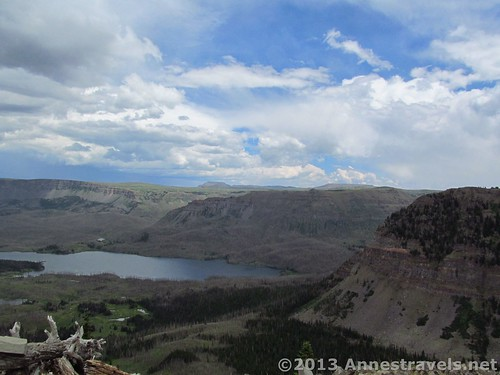 Looking out over Trappers Lake while hiking toward Himes Peak, Flat Tops Wilderness Area, Routt National Forest, Colorado