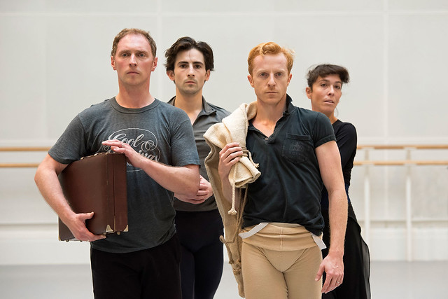 Bennet Gartside, Tristan Dyer, Steven McRae and Laura Morera in rehearsal for The Age of Anxiety ©ROH. Bill Cooper 2014.