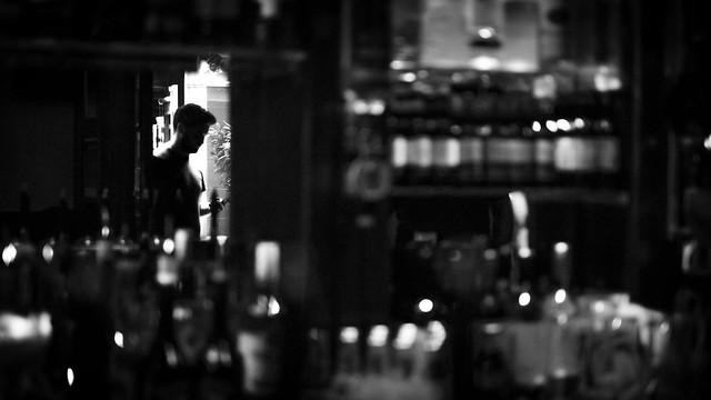 Pub reflections - Dublin, Ireland - Black and white street photography