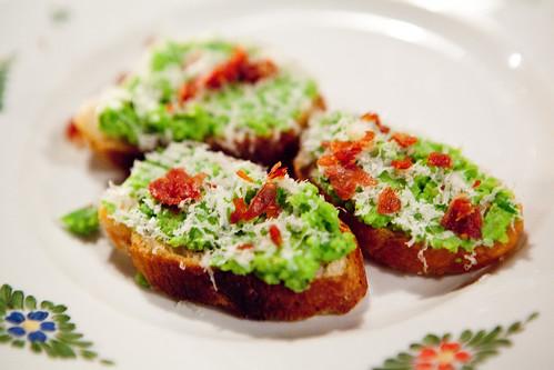 Favas & Peas, primo sale & crispy speck