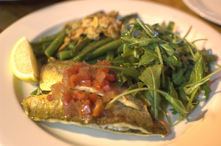 Grilled coorong yellow eye with green beans