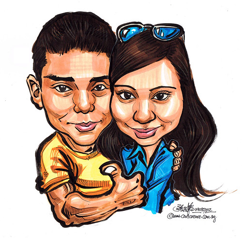 malay couple caricatures in colour marker