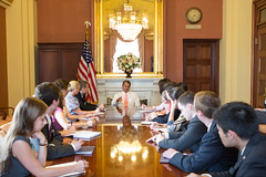 Speaker John Boehner meets with students from Miami University�s �Inside Washington� program in his office in the U.S. Capitol.  May 22, 2013. (Official Photo by Heather Reed)  --- This official Speaker of the House photograph is being made available only for publication by news organizations and/or for personal use printing by the subject(s) of the photograph. The photograph may not be manipulated in any way and may not be used in commercial or political materials, advertisements, emails, products, promotions that in any way suggests approval or endorsement of the Speaker of the House or any Member of Congress.