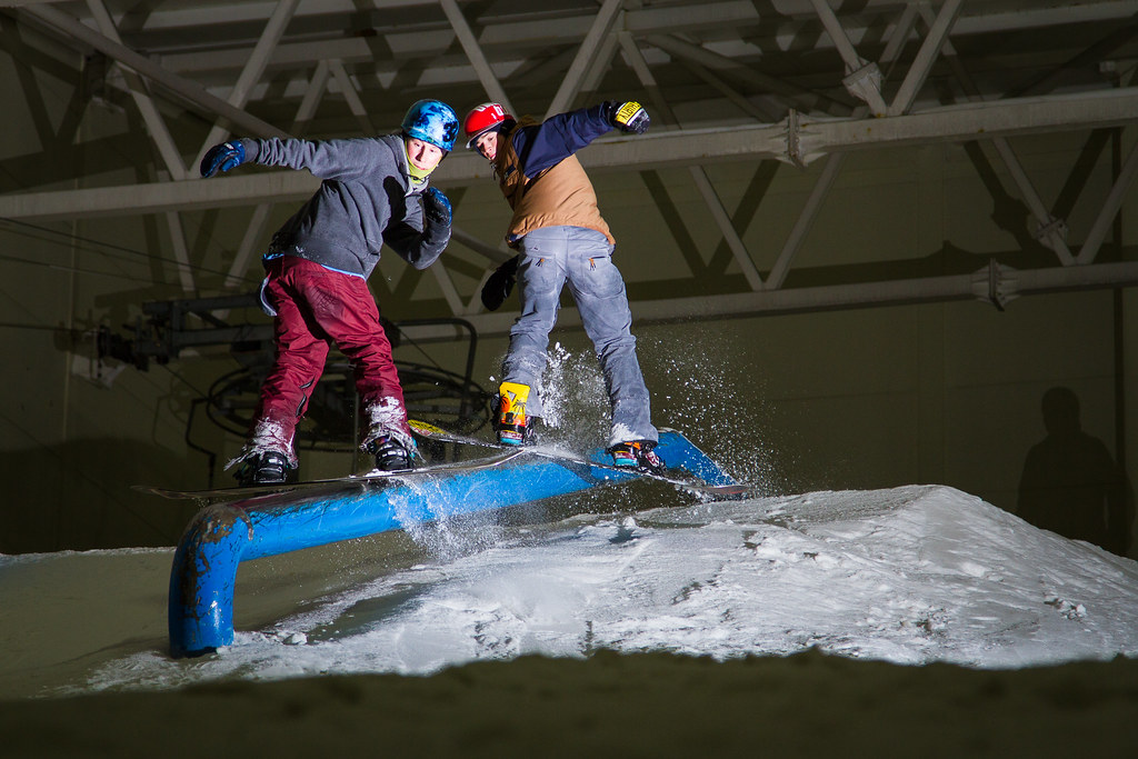 Marc 'Gladis' McClement and sam snowboarding rail braehead glasgow