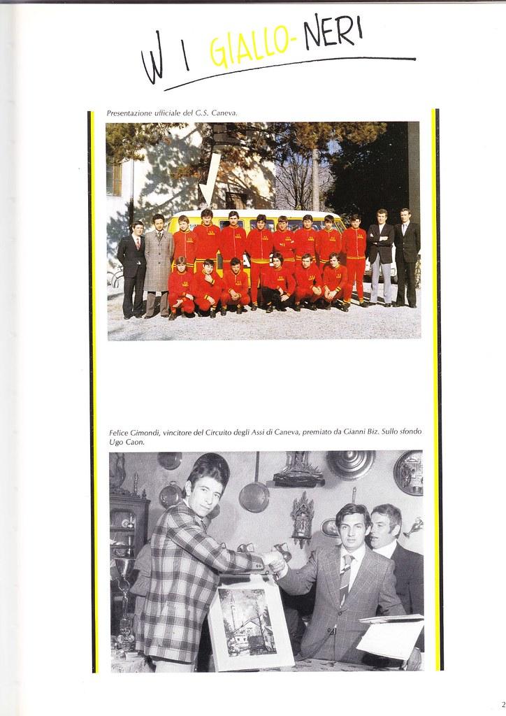 annuario G.S. Caneva - Presentazione ufficiale (Giorgio Donazzon indicato dalla freccia) e premiazione Felice Gimondi, vincitore del Circuito degli Assi di Caneva.