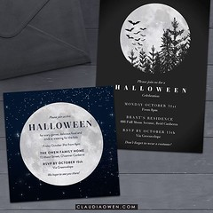 Full moon on Halloween :full_moon_with_face: These are some of the Halloween cards I designed for @greenvelope :skull::ghost: #halloween #halloween2016 #halloweenparty #invitations #partyinvitations #partysupplies