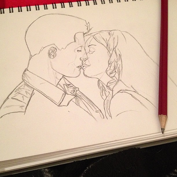 Boyfriend and girlfriend kissing drawing